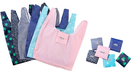 Six ($14.95) or Twelve ($24.95) Reusable Foldable Eco Shopping Bags in Multiple Colours