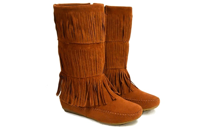 Shoes of Soul Women's Fringe Boots (Size 7)