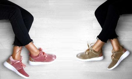 Women's Velvet Glitter Trainers