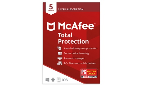 McAfee Total Protection 2021 para 5 dispositivos durante 1 año