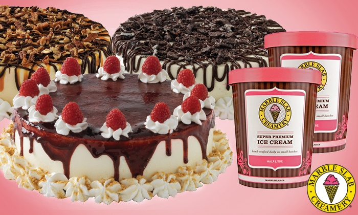 Marble Slab Creamery - Multiple Locations: Two Litres of Ice Cream, Two Mini Cakes, or One Large Ice Cream Cake at Marble Slab Creamery (Up to 45% Off)