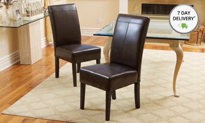 Brown Faux-Leather Dining Chairs: Set of Two Faux-Leather Dining Chairs. Free Shipping.
