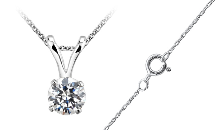 1/5 - 1/3 CTW Diamond Solitaire Pendant in 14K Gold (H-I, I1): 1/3 or 1/5 TDW Diamond Solitaire Pendant Necklace in 14K White Gold. Free Shipping and Returns.