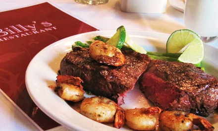 $20 for $35 Worth of American Dinner Cuisine for Two or More at Billy's Restaurant