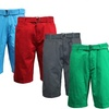 Men's 100% Cotton Flat-Front Washed Shorts with Belt (2-Pack)