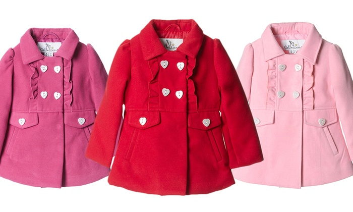 f2f2a5b53ff Toddler Ruffled Peacoat | Groupon Goods