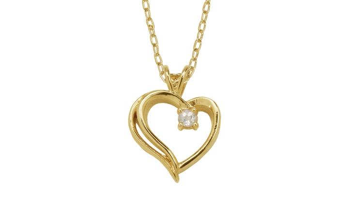 White Topaz Heart Pendant with 18-Karat Gold Plating: White Topaz Heart Pendant with 18-Karat Gold Plating. Free Returns.