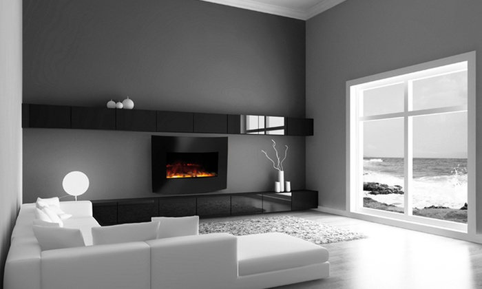 Electric Curved Glass Wall-Mounted Fireplace: Electric Curved Glass Wall-Mounted Fireplace. Free Shipping and Returns.