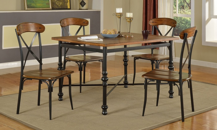 Vintage Industrial Dining Room Table. Manheim Five Piece Industrial Vintage Dining Set  Groupon Goods
