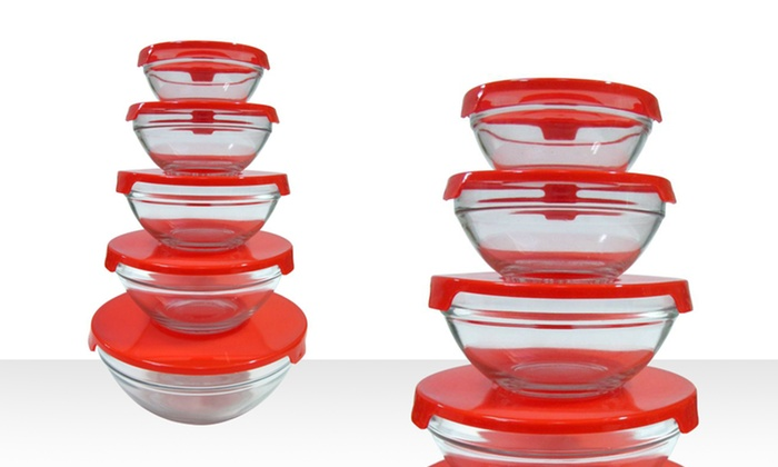 Five-Piece Glass-Nesting-Bowl Set with Lids: 5-Piece Glass-Nesting-Bowl Set with Lids. Free Returns.