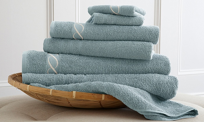 6-Piece Embroidered 100% Egyptian-Cotton Towel Set: 6-Piece Embroidered 100% Egyptian-Cotton Towel Set. Multiple Colors Available. Free Returns.