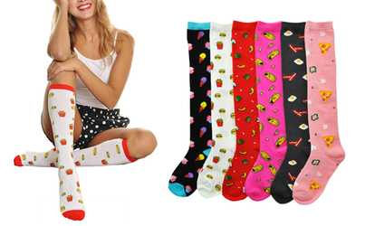 0407f66ec Shop Groupon Angelina Women s Novelty Knee-High Socks (6-Pack)