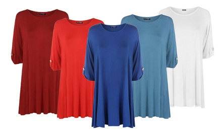 Oops Turn-Up Sleeve Button Flared Swing Top