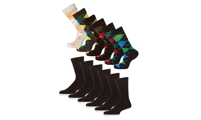 Men's Formal Classic Cotton Dress Socks (6- or 12-Pack)