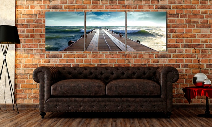 "47""x16"" Triptych Wood-Panel-Mounted Canvas Prints: 47""x16"" Triptych Wood-Panel-Mounted Canvas Prints. Multiple Styles Available. Free Shipping and Returns."
