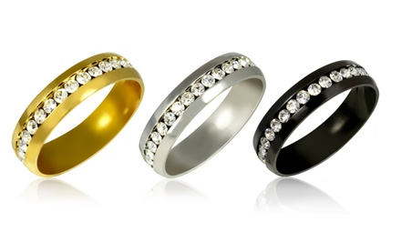 Stainless Steel Simulated-Diamond Eternity Band in Silver Tone, Black Ion Plating, or 18-Karat Gold or Rose-Gold Plating