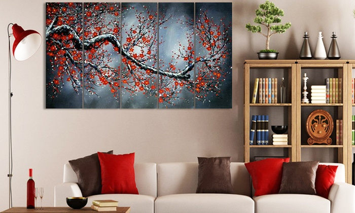 large multi panel textured paintings and gallery wrapped canvas art