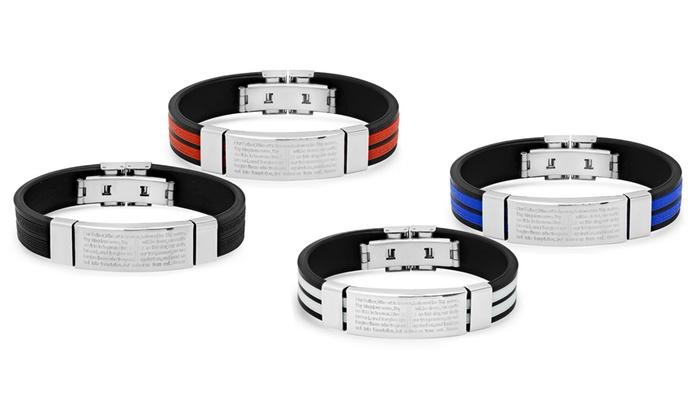 Up To 64% Off on Men's Prayer ID Bracelet   Groupon Goods