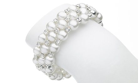 Swarovski Elements and Faux-Pearl Wrap Bracelet
