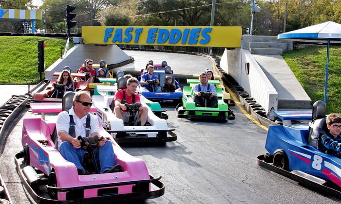 Fast Eddies Fun Center - Pensacola: Family-Fun Packages with Go-Karts, Mini Golf and Arcade Tokens at Fast Eddies Fun Center($ Off). Two Options Available.
