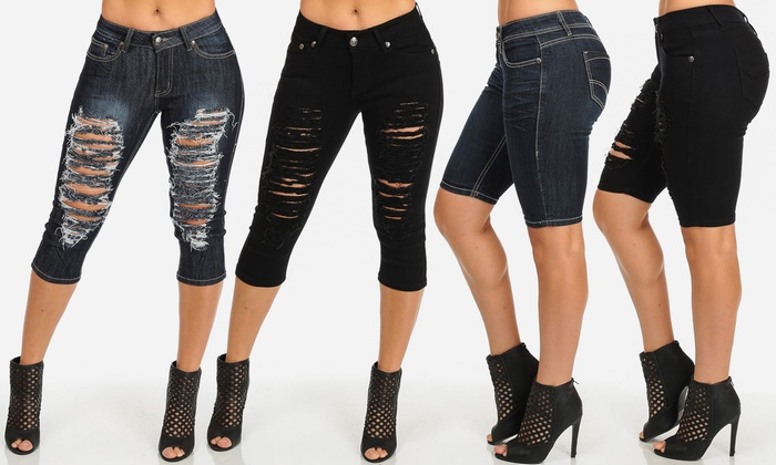 Juniors' Denim Capris or Shorts | Groupon Goods