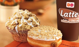Dunkin' Donuts: $11 for a Five-Visit Punchcard for Any Sized Coffee and Two Donuts Per Visit at Dunkin' Donuts ($21.35)