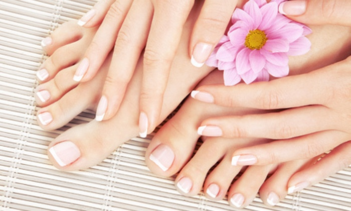 Hair Essentials and Spa - Hair Essentials and Spa - Alda Gentile: Acrylic-Nail-Extension Manicure, or One or Three Basic Mani-Pedis at Hair Essentials and Spa (Up to 56% Off)