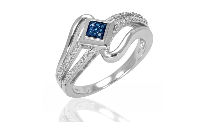 Sterling Silver, Blue-and-White Diamond Accent Ring: Sterling Silver, Blue-and-White Diamond Accent Ring. Free Returns.