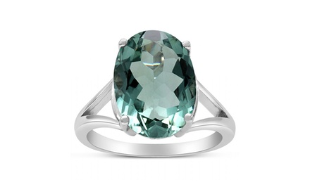 5.5-CT Oval Green Amethyst Ring in Solid Sterling Silver