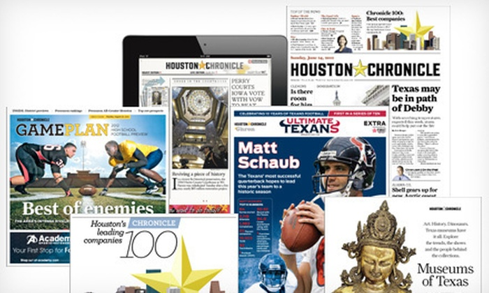 "Houston Chronicle - Houston: 10 or 20 Weeks of ""Houston Chronicle"" Home Delivery (Up to 56% Off)"