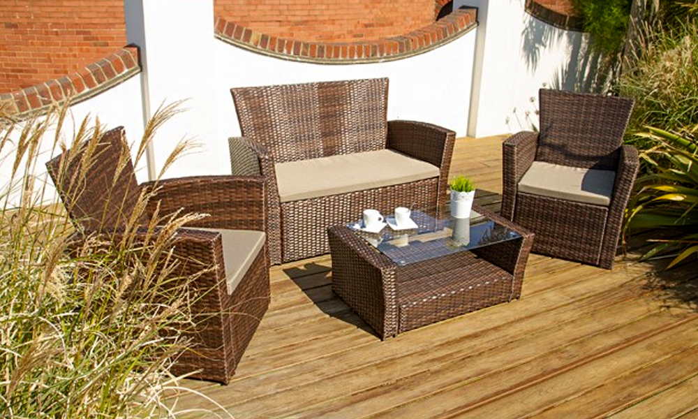 Includes two seater sofa  two armchairs and a coffee table  Brown rattan  effect. Rattan Effect Furniture  169  349   Groupon Goods