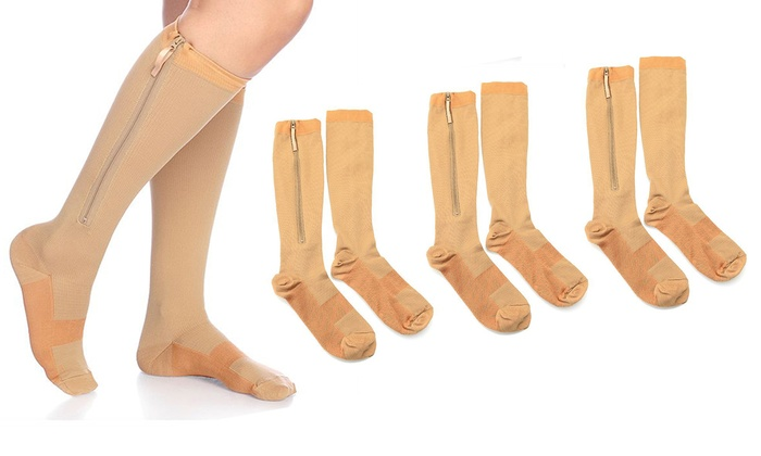 fe619acf8 As Seen On TV Copper-Infused Knee-High Compression Zip Socks (6 Pairs