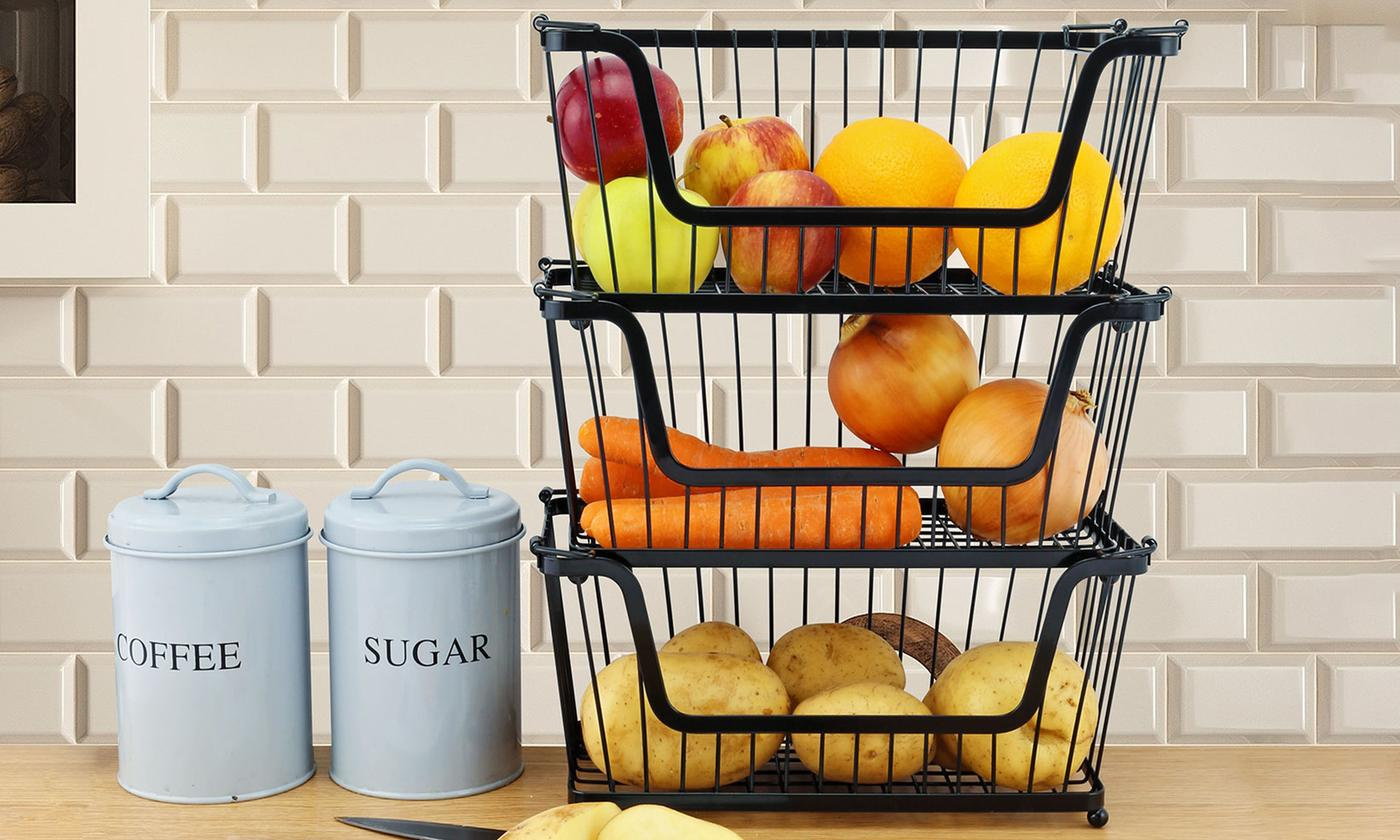 One, Two or Four Stackable Kitchen Storage Baskets In Choice Of Colour