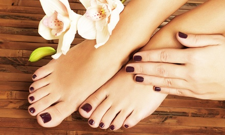 Mani-Pedi Combo or Full Set of Acrylic Nails at Hannah's Hair and Nail Studio (Up to 55% Off)