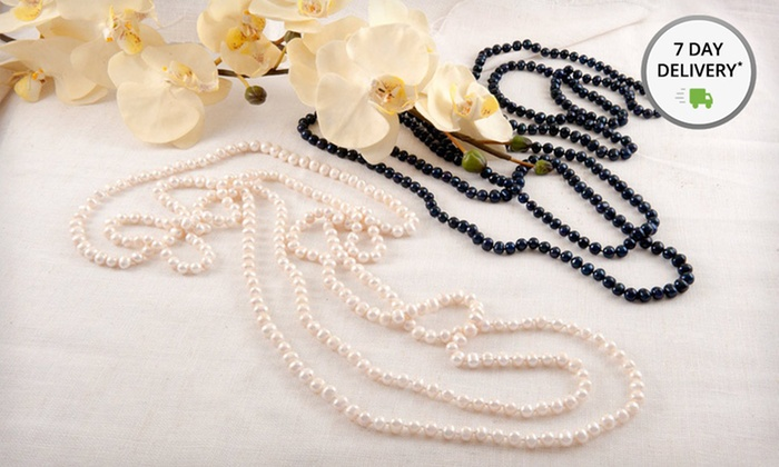 100-Inch Pearl Necklace: 100-Inch Pearl Necklace in White or Peacock. Free Shipping and Returns.