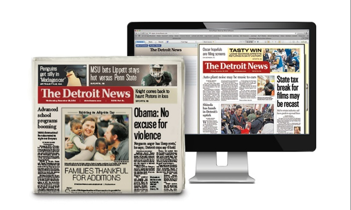 """_The Detroit News_ - Detroit: 13- or 26-Week Thursday, Friday, and Sunday Print Subscription to """"The Detroit News"""" (Up to 59% Off)"""