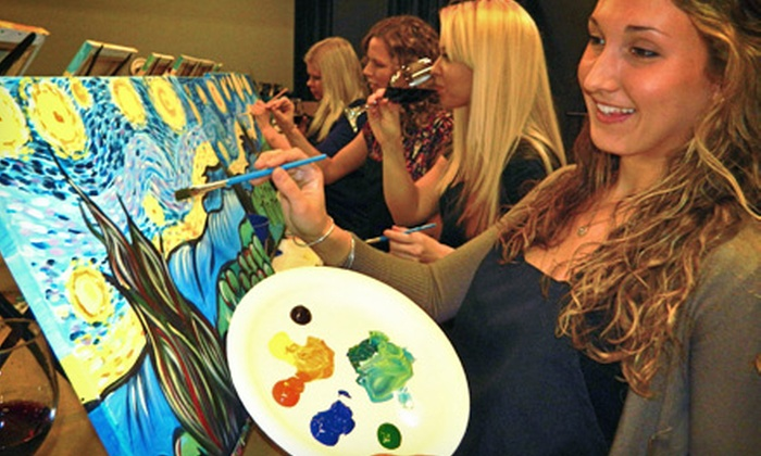 Painting & Vino - Multiple Locations: Three-Hour Painting Class for One or Two at Painting & Vino (Up to 56% Off)