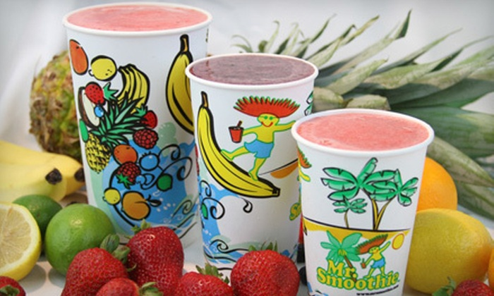 Mr. Smoothie - Multiple Locations: $10 for Four Medium-Sized Smoothies at Mr. Smoothie ($22 Value)