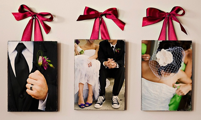 "Set of 3 Custom Wooden PhotoBoards: Set of 5""x7"", 8""x10"", or 11""x14"" Custom Wooden PhotoBoards (Up to 67% Off). Free Shipping."