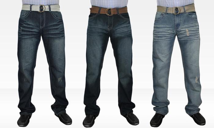 Agile Collection Men's Denim Jeans: Agile Collection Men's Denim Jeans in Black-and-Blue, Dark, or Medium Wash. Free Returns.