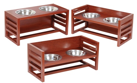 Pet Store Three-Level Wooden Elevated Pet Feeder