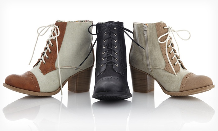 Bucco Two-Tone Spring Lace-Up Boots: $34.99 for Bucco Two-Tone Spring Lace-Up Boots ($99 List Price). Multiple Options Available. Free Shipping and Returns.