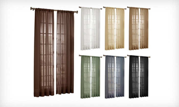 Set of Two Maytex Window Curtains: Set of Two Maytex Sheer Lily Window Curtains or Room-Darkening Edward Stripe Window Curtains (Up to 73% Off). Multiple Styles Available.
