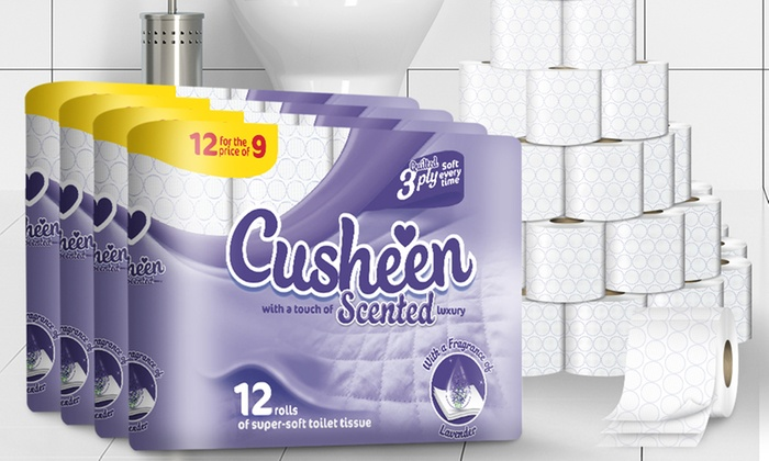 60 or 120 Rolls of Cusheen Quilted Lavender 3 Ply Toilet Paper