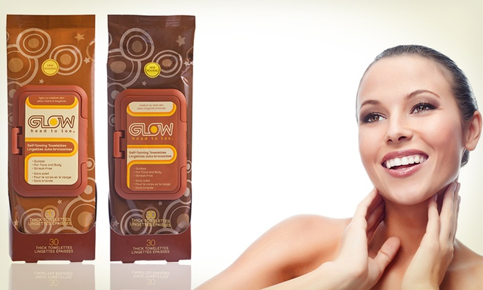 Self-Tanning Towelettes: 2 30-Count Packs of Light-to-Medium or Medium-to-Dark Self-Tanning Towelettes