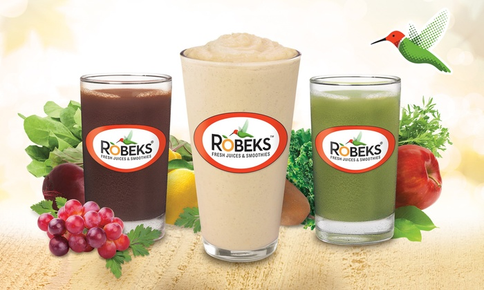 Robeks - Multiple Locations: Five Groupons, Each Good for One Medium Smoothie or Juice at Robeks (50% Off)