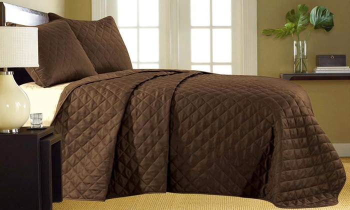 3-Piece Quilted Coverlet Set: 3-Piece Quilted Coverlet Set. Multiple Colors Available. Free Returns.