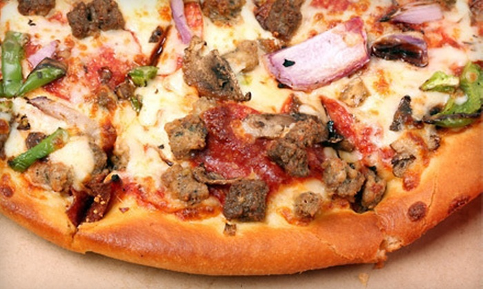 Pizza Time! - Briargate: Large Pizza, House Salad, and Breadsticks or Garlic Knots or $5 for $10 Worth of Pizza and Drinks at Pizza Time!