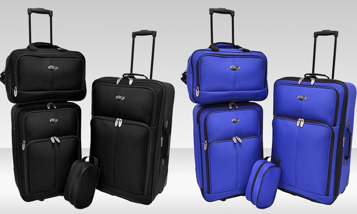 Traveler's Choice Potenza 4-Piece Luggage Set: Traveler's Choice Potenza 4-Piece Luggage Set in Black or Blue. Free Shipping and Returns.