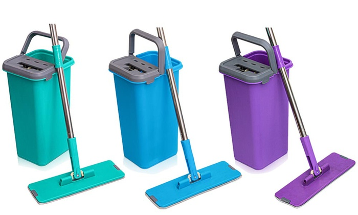 Rinse and Clean Microfibre Flat Mop with Bucket